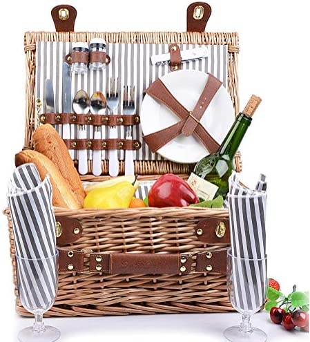 SatisInside New 2020 USA Insulated Deluxe 16Pcs Kit Wicker Picnic Basket Set for 2 People – Reinforced Handle – Grey Stripes
