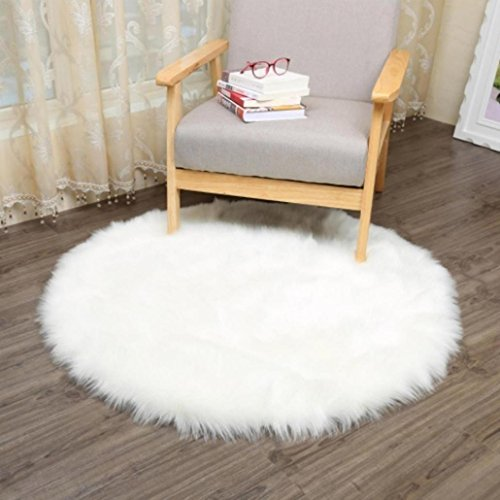 - Clearance Sale!DEESEE(TM)Soft Artificial Sheepskin Rug Chair Cover Artificial Wool Warm Hairy Carpet Seat (White)