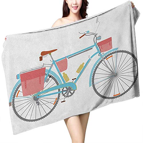 homecoco Extra Long Bath Towel Bicycle Classic Touring Bike with Derailleur and Saddlebags Healthy Active Lifestyle Travel W28 xL55 Suitable for bathrooms, Beaches, Parties ()