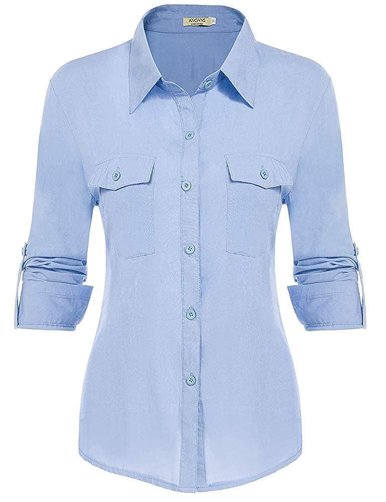 2 arfurt Women's Long Sleeve Button Down Casual Dress Shirt Business Blouse