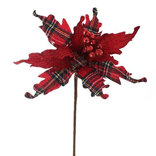 Factory Direct Craft Christmas Plaid Artificial Poinsettia Pick for Holiday and Home Decor