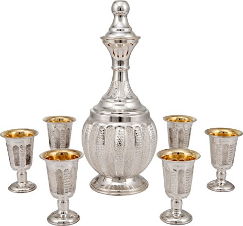 Sterling Silver Dipped Liquor and Whiskey Bottle with Goblets [diamond lined] ()