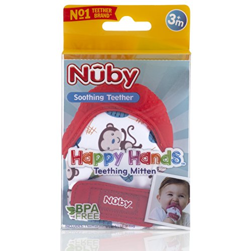Nuby Soothing Teething Mitten with Hygienic Travel Bag Red NEW FREE SHIPPING!