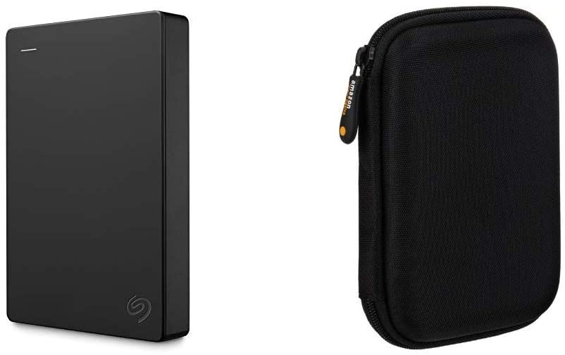 Seagate Portable 4TB External Hard Drive HDD USB 3.0 for PC Laptop and Mac (STGX4000400) & AmazonBasics External Hard Drive Portable Carrying Case