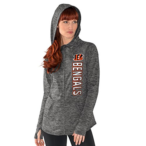 NFL Cincinnati Bengals Women's Recovery Full Zip Hoody, X-Large, Heather Grey
