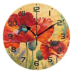 Naanle Red Poppy Flower Floral Pattern Design Round/Square/Diamond Acrylic Wall Clock Oil Painting Home Office School Decorative Creative Dual Use Clock Art