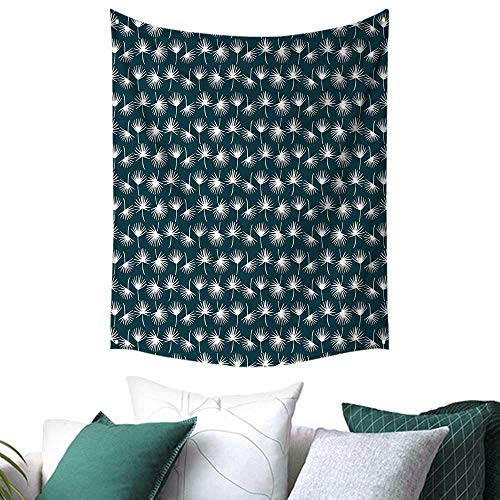 Teal Home Decor Tapestry Abstract Natural Foliage Pattern in White Dandelion Silhouettes Spring Garden Meadow a 60W x 91L INCH Teal White