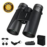 Famecame10x42 Binoculars for Men,Professional Adults Binoculars for Compact Low Light Night Vision Travel Hunting(Camouflage Tape,Carrying Bag,Cushion binocular Strap)