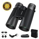 Famecame10x42 Binoculars Men,Professional Adults Binoculars Compact Low Light Night Vision Travel Hunting(L Type Binocular Adapter,Carrying Bag,Cushion Binocular Strap)