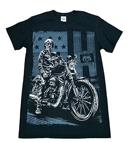 Motorcycle Graphic (Historic Route 66 Skeleton on Motorcycle Graphic T-Shirt - X-Large)