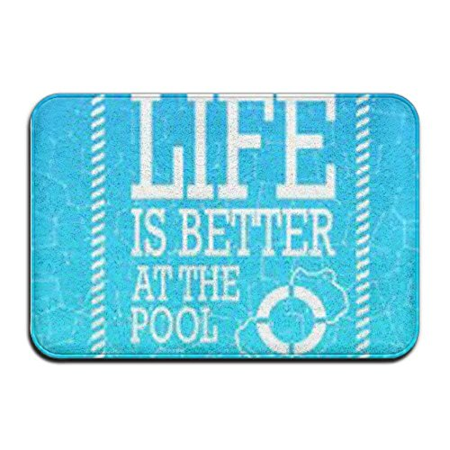 Life Is Better At The Pool Theme Anti-slip Door Mat Home Decor Indoor For Decor Decorative Kids Children Bedroom Entrance Doormat Rubber Backing 23.6 X 15.7 ()