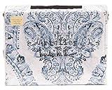 Nicole Miller Artelier King Duvet Cover Set Medallion Floral Vintage Blue White Cotton Bedding