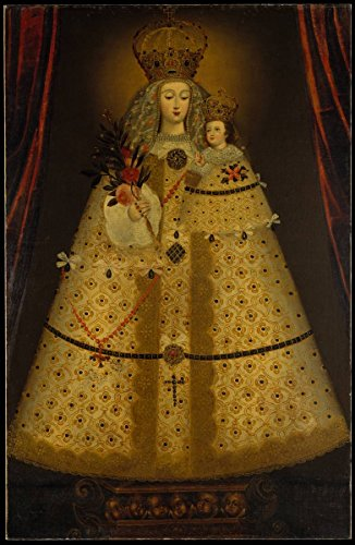 Historic Pictoric Fine Art Print - Peruvian (Cuzco) Painter - Our Lady of Guápulo - Vintage Wall Art - 16in x 24in