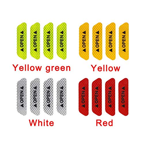 ETbotu 4Pcs/Set Safety Reflective Tape Open Sign Warning Safety Mark Car Door Reflector Strips Sticker Accessory Diamond Fluorescent Green by ETbotu (Image #6)