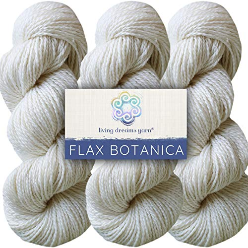 Living Dreams Flax Botanica DK Yarn. Elegant Merino Linen Silk. Cruelty Free & Responsibly Sourced. Pacific Northwest Handmade. Bulk Discount Pack, Pearl