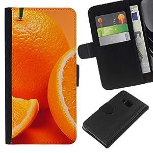 NEECELL GIFT forCITY // Billetera de cuero Caso Cubierta de protección Carcasa / Leather Wallet Case for HTC One M7 // Anaranjado lindo