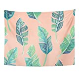Breezat Tapestry Green Bikini Composition of Exotic Palm Banana Leaf on Light Pink Summer Floral Home Decor Wall Hanging for Living Room Bedroom Dorm 60x80 Inches