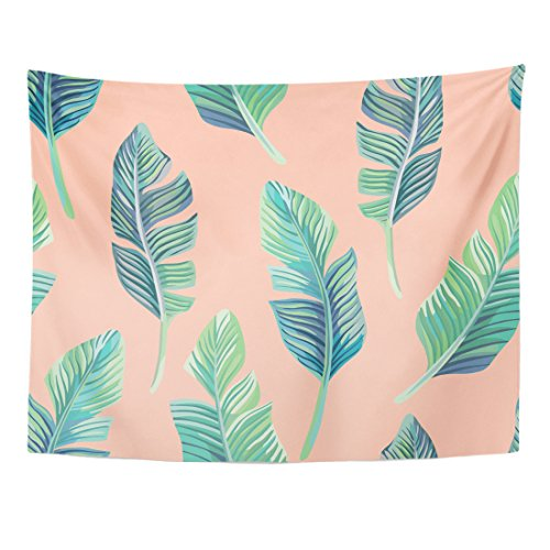 Breezat Tapestry Green Bikini Composition of Exotic Palm Banana Leaf on Light Pink Summer Floral Home Decor Wall Hanging for Living Room Bedroom Dorm 60x80 Inches by Breezat