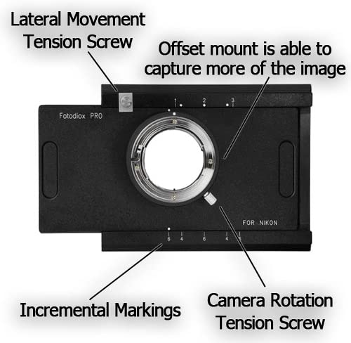 Fotodiox Pro Lens Mount Adapter Shift//Stitch Adapter Nikon Nikkor F Mount D//SLR to Large Format 4x5 View Cameras with a Graflok Rear Standard