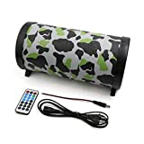 uxcell Camouflage Army Green 5 Inch Cylinder Shaped PVC Car Motorcycle Stereo Audio Bass Subwooer