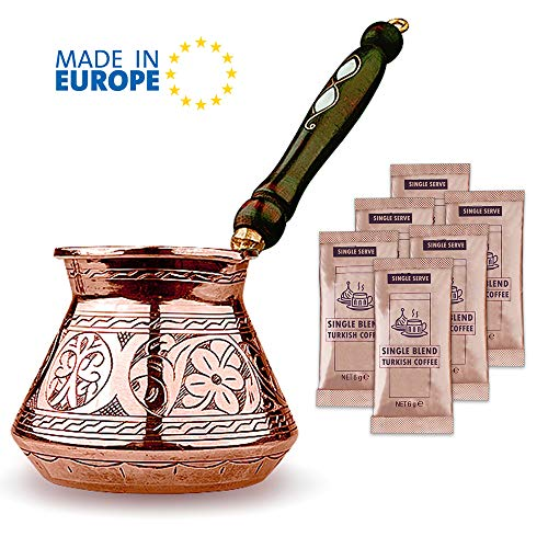 Turkish Coffee Pot, Greek Arabic Coffee Maker, Thickest Solid Hammered and Engraved Copper Coffee Cezve with Premium Wooden Handle (20 fl oz)