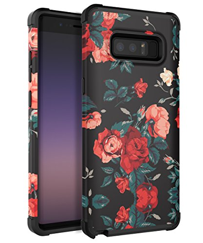 AugeCase Samsung Galaxy Note 8 Slim Dual Layer Heavy Duty Protection Rubber TPU Plastic Shock Resistant Anti-Scratch Flower Deisgn Pattern Fit Samsung Galaxy Note 8,Red - Notes Capital