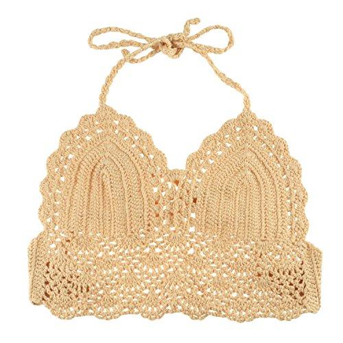 Zodaca Crochet Crop Bikini Top Bralette Knit Lace Bra (S), Khaki (Cutout Swimming Costume)