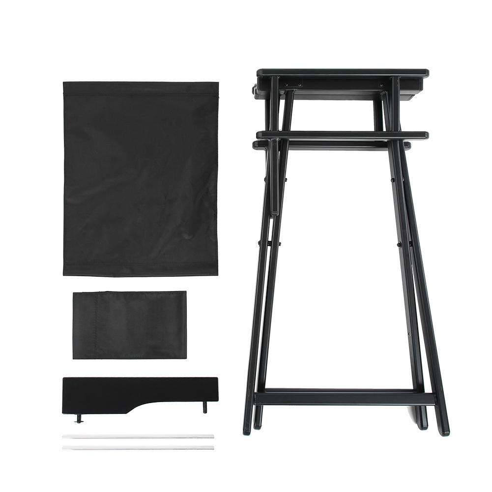 Folding Director's Chair, 28.3 inch Aluminum Alloy Black Frame Artist Makeup Chair with Replacement Cover Canvas, Portable Footrest
