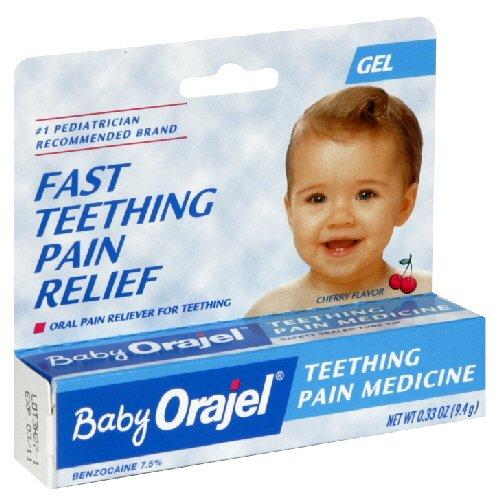 Bébé Orajel Teething médecine de la douleur, Gel, saveur de cerise 0,33 oz / 9.4 G (Pack de 3)