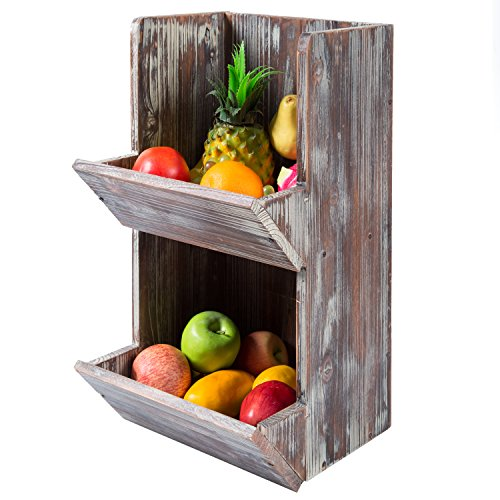 2 Tier Rustic Torched Wood Fruit Produce Storage Rack, Wall Mountable Display Bins
