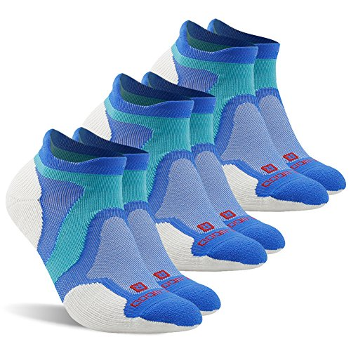 (Running Socks,ZEALWOOD Men low cut Tennis Socks Men's Merino Wool Cushion Hiking Socks Pack of 3, Dry Fit Socks,Double Cross No Show Tab Cushion Sports Sock-Blue/White,Large)