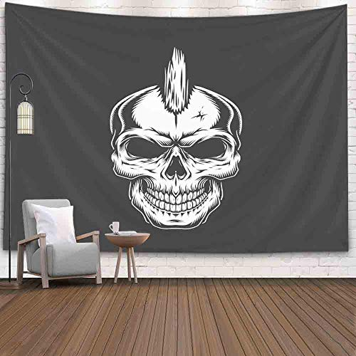 Punk Rock Hairstyles For Halloween (SOAUTY Tapestry Blanket, Tapestry Wall Hangings 80X60Inch Punk Rock Skull Hairstyle Vintage Living Room Bedroom Thanksgiving Christmas Halloween Day Art Tapestry Wall Covering Home)