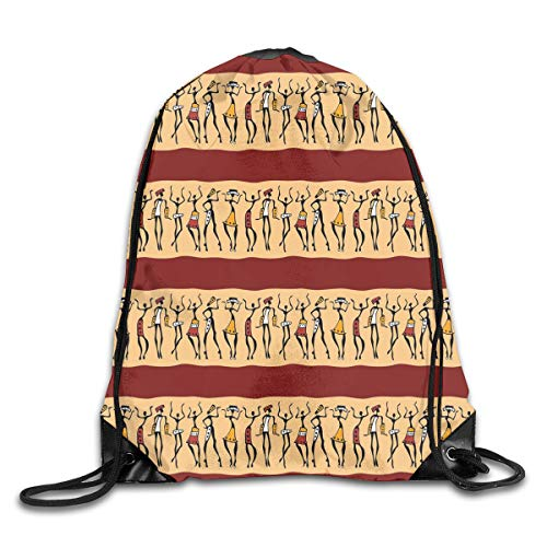Unisex Drawstring Bag Gym Bags Storage Backpack,Native Indigenous People Different Poses Tribal Ancient Culture Borders (Best Senior Portraits Poses)