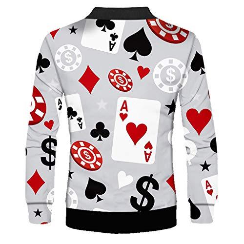 Manga Larga Chaqueta 3d Cool Outwear Game Coat Hombre Impreso Póker Juego Poker Causal Ropa Streetswear aawzUv