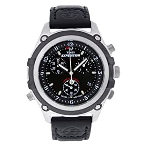 Timex Expedition T49745 - Reloj de mujer de cuarzo, correa de piel color negro (con luz, alarma, cronómetro)