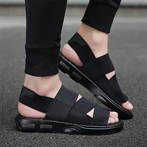 Ajustables Casual de Punta los de Sandalias de Abierta Transpirables Sandalias Playa Cómodo Verano Black Hombres Zapatos Antideslizante Sqw0P5