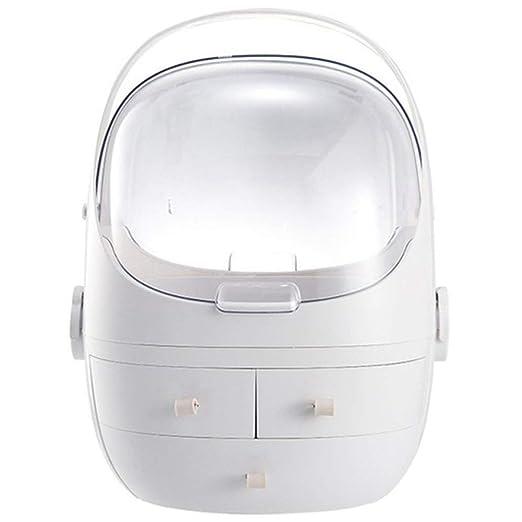 25.5 DKFS Flip 3 Cajones Tocador Caja De Almacenamiento De Maquillaje Redondo L/ápiz Labial Joyer/ía Cosm/ética Organizador Blanco 32.5 23 Cm