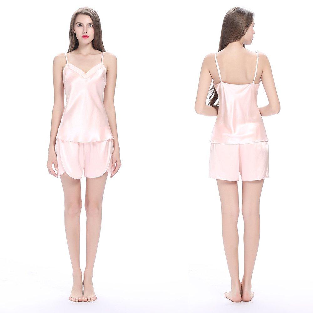 LilySilk Silk Women Pajama Sets 7pcs Hair Band and Hair Ties Short and Long Sets Sleepwear Ladies Light Pink XL/14-16 by LilySilk (Image #4)