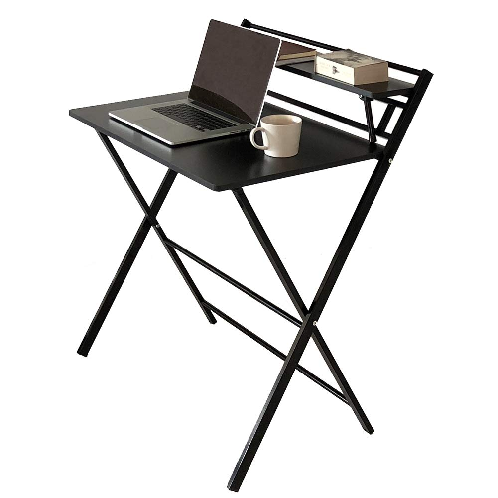 JIWU 2-Style Folding Desk for Small Space, Home Office Workstation with Shelf, Simple Computer Desk Laptop Writing Table by JIWU