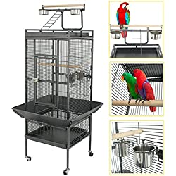 "SUPER DEAL PRO 53""/61""/68"" Large Bird Cage with Play Top & Rolling Stand - Parrot Chinchilla Cage Macaw Cockatiel Cockatoo Pet House, 61 inch Wrought Iron"