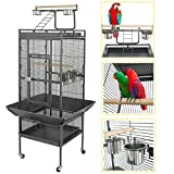 SUPER DEAL PRO 61''/ 68'' 2in1 Large Bird Cage with Rolling Stand Parrot Chinchilla Finch Cage Macaw Conure Cockatiel Cockatoo Pet House Wrought Iron Birdcage, Black (61'') Larger Image