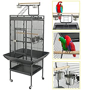 SUPER DEAL PRO 61''/ 68'' 2in1 Large Bird Cage with Rolling Stand Parrot Chinchilla Finch Cage Macaw Conure Cockatiel Cockatoo Pet House Wrought Iron Birdcage, Black (61'') 30