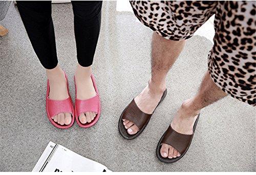 Mujer Mujer o de olores Zapatillas Verano Cuero Prueba Dormitorio de Rosa Transpirable Masculina TELLW casa Verano de Interior Primavera a Antideslizante Zapatillas Cool Oto Vaca PgYnw