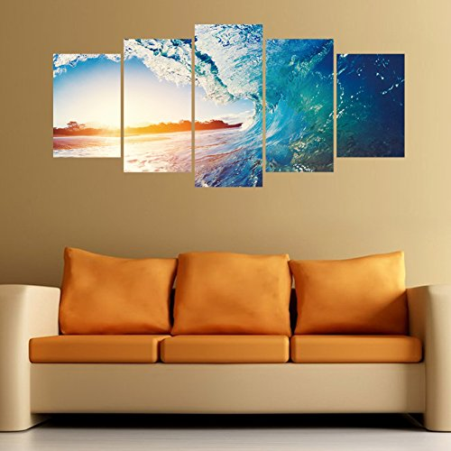 VanBest 5Pcs Sunset Ocean 3D Three-dimensional Wall Sticker Removable Waterproof Decals DIY Home Living Room Bedroom Mural Art ()
