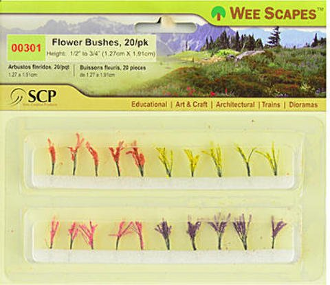 Wee Scapes Architectural Model Flowers & Hedges - Flower Bushes - Red, Pink, Yellow, Purple 2 pcs sku# 1848339MA