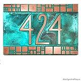 The Batchelder Tile Address Plaque 12x8 - Raised Copper Verdi Metal Coated