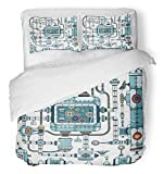 Emvency 3 Piece Duvet Cover Set Breathable Brushed Microfiber Fabric Fantastic Complex Steampunk Machine Made of Interlocking Pipes Cables Devices Bedding Set with 2 Pillow Covers Twin Size