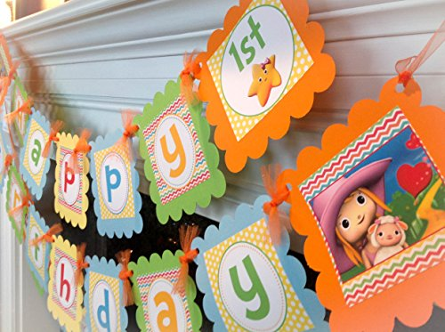 PARTY PACK SPECIAL - Little Baby Bum Inspired Happy Birthday Collection - Rainbow Chevron, Yellow Polka Dots & Orange, Green, Yellow and Blue Accents - Party Packs (Baby First Tv Party Supplies)