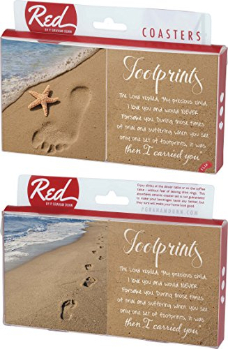 Footprints in the Sand Poem 4 Piece Absorbent Ceramic Coaster Set]()