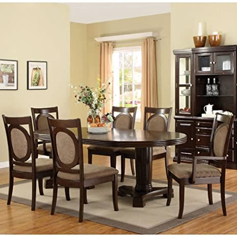 Amazon.com - 247SHOPATHOME IDF3418T-7PC Dining-Room-Sets, Brown ...